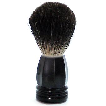 Gold roof shaving brush with badger hair, black plastic handle