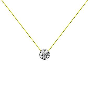 Choker Flower Cluster 18K Gold and Diamonds, on Thread - White Gold, NeonYellow