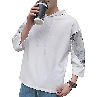 Allthemen Men's Summer Hoodies Cotton Letter Youth Wild Casual Printed Hoodies Shirt