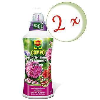 Sparset: 2 x COMPO hydrangea والأسمدة الكاميليا، 1 لتر