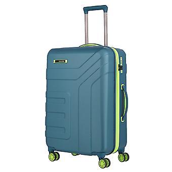 travelite Vector Trolley M, 4 Rollen, 70 cm, 79  L, Petrol/limone
