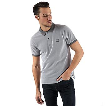 Men's Bench Fabric Mix Polo Shirt in Grey