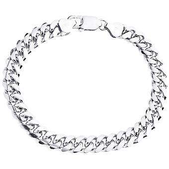 Sterling 925 Silver Tank Chain Bracelet - MIAMI CURB 8mm