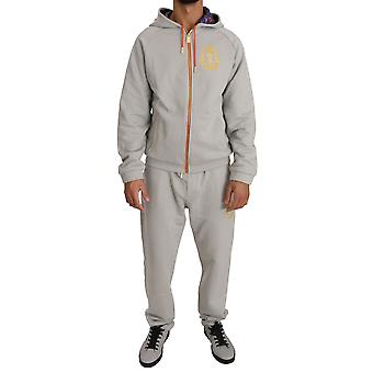 Billionaire Italian Couture Gray Cotton Ribbed Hem Tracksuit