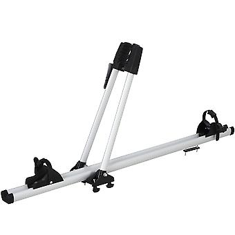 HOMCOM Aluminium Car Roof Mounted Bike Cycle Rack Upright with Straps Lockable