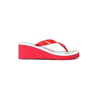 Desigual White Red Lola Galactic Platform Sandals Flip Flops