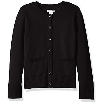 Essentials Little Girls' Uniform Cardigan Sweater, Black Beauty, M