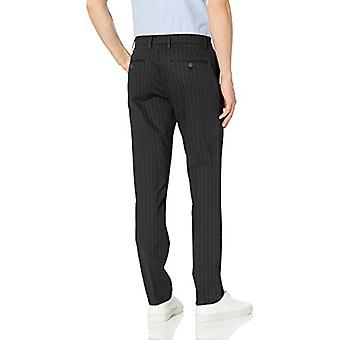 Brand - Goodthreads Men's Slim-Fit Wrinkle-Free Comfort Stretch Dress Chino Pant, Black Pinstripe, 34W x 32L