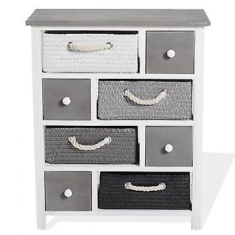 Rebecca Furniture Cabinet Drawer 4 Baskets 4 Wicker Wood Drawers 68x56x27