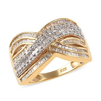 White Diamond Crossover Ring 14ct Gold Plated Sterling Silver , 1 Ct TJC
