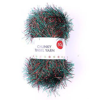 Simply Creative Chunky Tinsel Yarn Red & Green (50g) (SCYRN004X19)