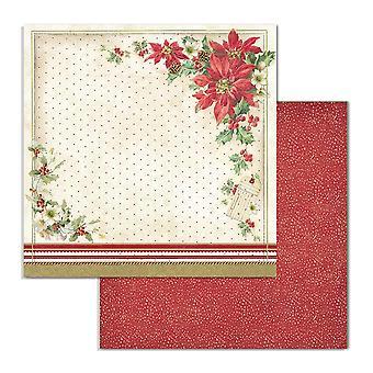 Stamperia Classic Joulu Poinsettia 12x12 Tuuman Paperiarkkeja (10kpl) (SBB705)