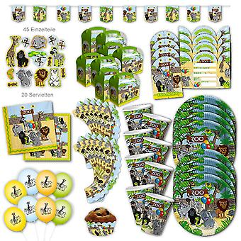 Zoo Animals Party Set XL 118-Piece voor 8 gasten ZooParty Jungle Animal Party Decoratie Party Pakket