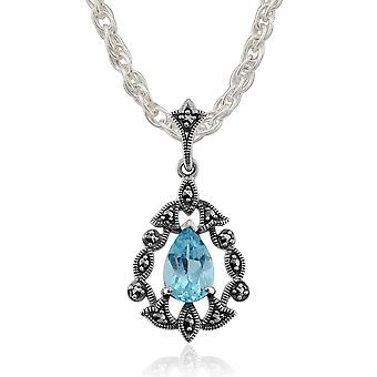 Art Nouveau Style Pear Amethyst & Marcasite Pendant Necklace in 925 Sterling Silver 214P157101925