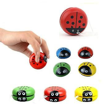 Puinen leppäkerttu Yo-yo Ball Sininen Vihreä Punainen Keltainen Leppäkerttu Luova Puinen Yo-yo