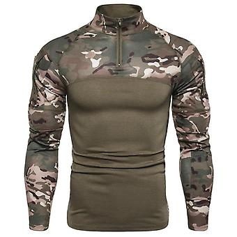 Men's Camouflage Long Sleeve T Shirt Fitness Zipper Bottoming Shirt