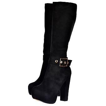 Onlineshoe High Heel Suede Knee High Winter Boot -  Gold Buckle - Black Suede