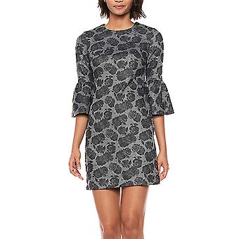 Calvin Klein Floral Print Bell Sleeve Ponte Abito