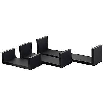 3-delige U-vormige zwevende planken set - houten boek CD DVD Wall Storage Display Shelf - Zwart - 3 maten