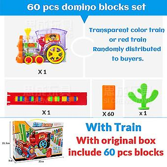 Automatic Laying Domino Brick Train Car Set Sound Light Kids Colorful Plastic Dominoes Blocks Toys Set For Girl Boys