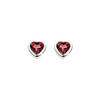 Dew sterling zilver granaat hart Stud Oorbellen 3035GT012