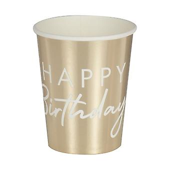 Gold Happy Birthday Paper Party Cups x 8