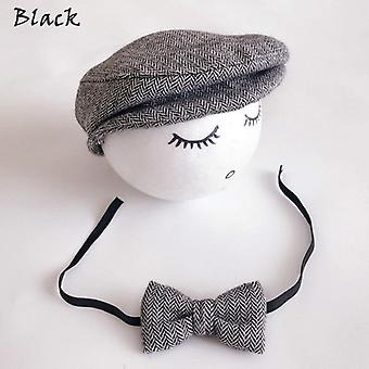 Newborn Hat + Bow Tie Cute Baby Girl Boy Peaked Beanie Cap Photography Prop Outfit Boys Set