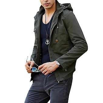 Allthemen Men's Hooded Zipper Jacket Solid Casual Fashion Windproof