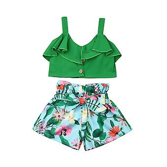 Toddler Baby Floral Vest Falbala Sleeveless Off Shoulder Crop Tops Floral