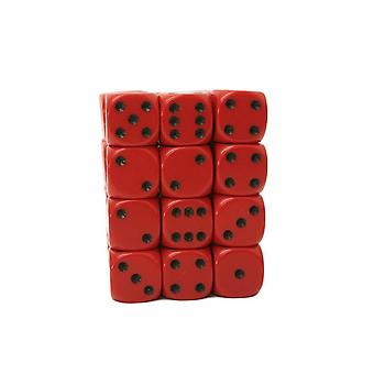 Chessex Opaque 12mm D6 Block - Red/black