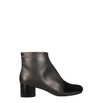 Mm6 Maison Margiela S59wu0173p3737t8013 Women's Black Leather Ankle Boots