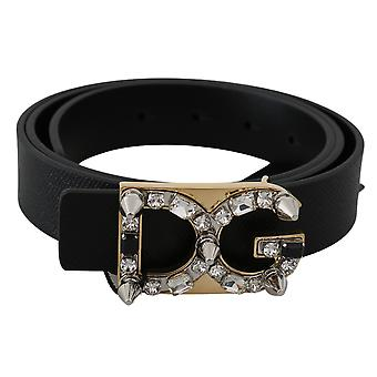 Dolce & Gabbana Black Leather DG Crystal Buckle Fashion Belt