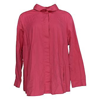 Isaac Mizrahi Live! Frauen's Plus Top Button Down Shirt rosa A378608