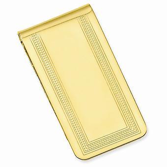 14k Guldpläterad solid mönstrad graverbar polerad med graverbart område Pengar Clip Smycken Gåvor för män