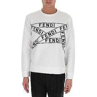 Fendi Faf535ad3rf0znm Men's White Cotton Sweatshirt