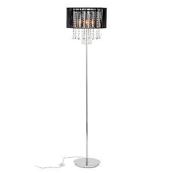 Lámpara de pie negro 3 luz con negro tela sombra, E14
