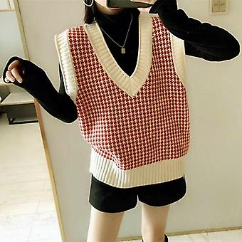 Téli koreai Vintage Houndstooth Geometriai Kockás V nyak ujjatlan pulóver