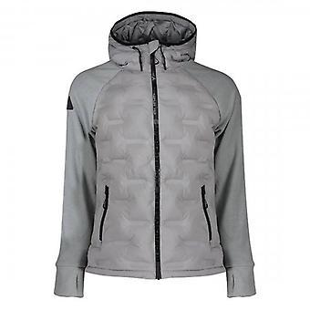 Superdry Radar Quilt Hybrid Zip Hoody Jacket Silver Grey S0X
