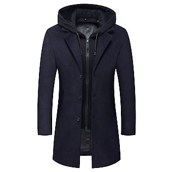 Mannen's Hooded Pure Revers Casual Mid-length Coat