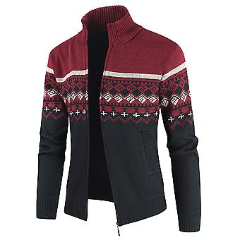 Men's Colorblock Zipper Stand Collar Casual Knitted Cardigan