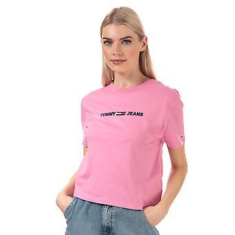 Dame's Tommy Hilfiger Moderne Logo Beskåret Passer T-skjorte i Rosa