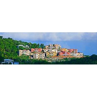 Villas on a hill Cruz Bay St John US Virgin Islands Poster Print