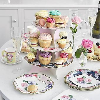 Truly Scrumptious Reversible Cake Stand 3 Tier Tea Party