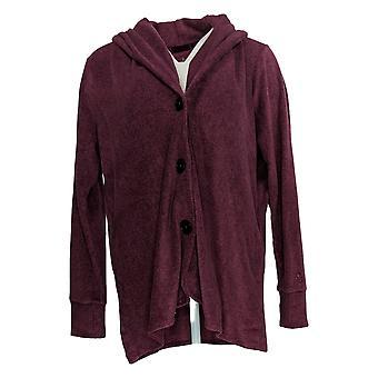 Cuddl Duds Women's Sweater Fleecewear Stretch Cardigan Purple A369667