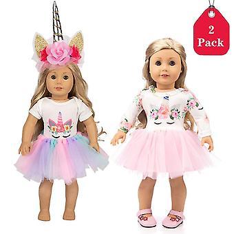 Amycute 18 inch onze generatie poppen kleren eenhoorn print jurken outfits & eenhoorn hoofdband voor am