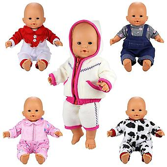 Miunana 5 pcs fashion clothes dresses for 14 -16 inch baby dolls, newborn dolls, our generation and
