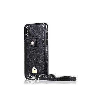 Apple iPhone 7/8 nahkakotelokotelo rannehihnalla - musta