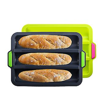 Silicone French Bread Mould 3 Slot Mini Baguette Baking Pan 2-pack