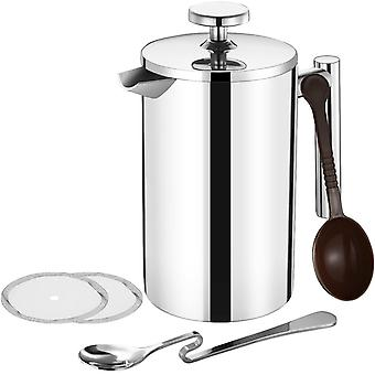 TOPELEK 500ML Cafetiere French Press Coffee Maker,  2 Filter Screen for home and office