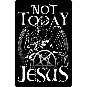 Greet Tin Card Not Today Jesus Plaque